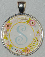 "Glass Pendant & Necklace - 1"" Round Floral Wreath and Initial"