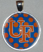 "Glass Pendant & Necklace - 1"" Round UF/Polka Dots"