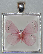 "Glass Pendant & Necklace - 1"" Square Pink Butterfly"