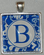 "Glass Pendant & Necklace - 1"" Square Blue Background and Initial"