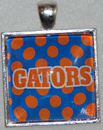 "Glass Pendant & Necklace - 1"" Square Gator/Polka Dot Background"