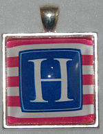 "Glass Pendant & Necklace - 1"" Square Stripes and Initial"