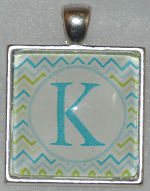 "Glass Pendant & Necklace - 1"" Square Blue/Green Chevron Stripe Background and Initial"