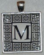 "Glass Pendant & Necklace - 1"" Square Black Greek Key Background and Initial"
