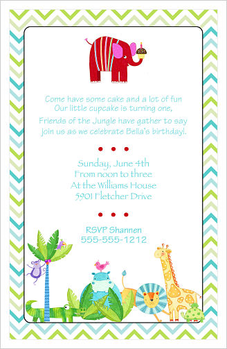 Kids Birthday Invitations Jungle Animals