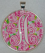 "Glass Pendant & Necklace - 1.5"" Round Pink Floral Background and Initial"