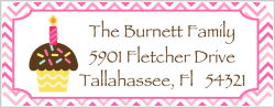 Address Labels - First Birthday (Pink Chevron Stripe)