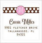 Address Labels - Initial and Polka Dot Bar (Option 2 - Square Label)