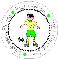 Address Labels - Boy Soccer Play (Option 2-Round)