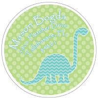 Address Labels - Fun Blue Chevron Stripe Dino w/Green Polka Dot Background