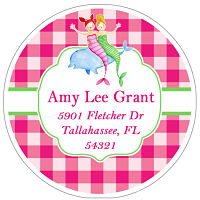 Address Labels - Mermaids with Pink Plaid Background (Round)