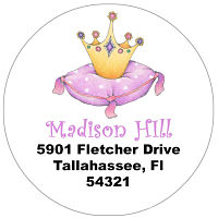 Address Labels - Whimsical Princess Crown (Round)
