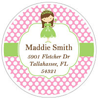 Address Labels - Princess In Green W/Pink Polka Dot Background (Round)