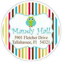 Address Labels - Whimsical Owl W/Multi-Colored Stripes (Round)