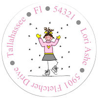 Address Labels - Winter Skater (Round)
