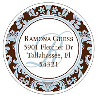 Address Labels - Elegant Blue and Brown Damask (Round)