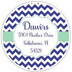 Address Labels - Blue Chevron Stripes (Round)