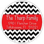 Address Labels - Fun Black Chevron Stripes (Round)