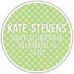 Address Labels - Fun Green Polka Dots (Round)