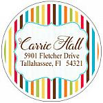 Address Labels - Fun Multi-Colored Stripes  (Round)