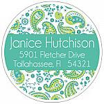 Address Labels - Teal and Green Paisley  (Round)