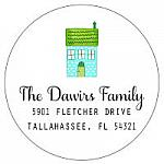 Address Labels - Whimsical House (Round)