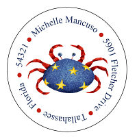 Address Labels - Americana Crab (Round)
