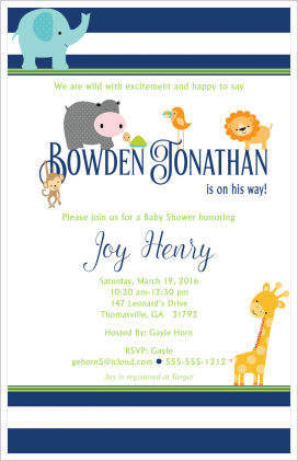 Baby Shower Invitations - Whimsical Jungle Animals