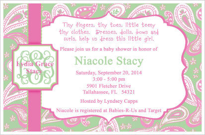 We offer a collection of custom made baby shower invitations along baby shower invitations pink and green paisley filmwisefo