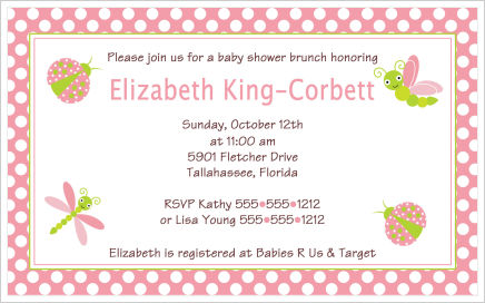 Baby Shower Invitations-Whimsical Pink Ladybugs and Dragonflies