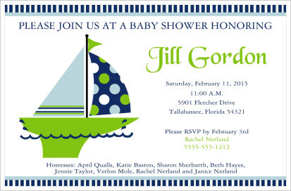 Baby Shower Invitations-Blue and Green Sailboat