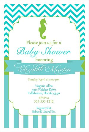 Baby Shower Invitations-Silhouette Seahorse