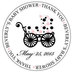 Favor Tags and Stickers - Pink & Black Polka Dot Baby Stroller