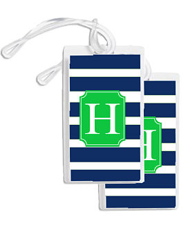 Bag Tags - Fun Modern Stripe (Navy/White/Green)
