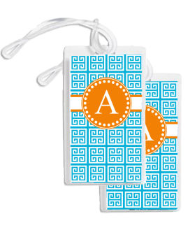 Bag Tags (GBT) Greek Key (Blue and Orange)