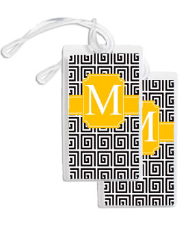 Bag Tags - Black and Gold Meandrous