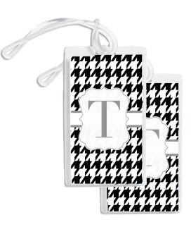 Bag Tags (GBT) Houndstooth (Black and White)