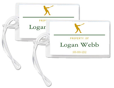 Bag Tags - Sports Theme/Silhouette Baseball Player