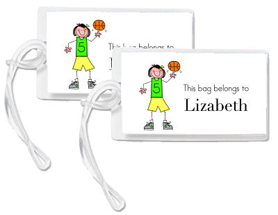 Bag Tags - Sport Theme/Girl Playing Basketball