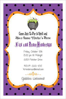 Halloween Party Invitations- Witches' Kettle