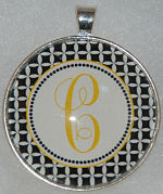 "Glass Pendant & Necklace - 1.5"" Round Black/White Petal Background and Initial"
