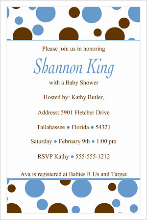 Baby Shower Invitations-Fun blue and Brown Polka Dots (Option 1)