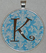 "Glass Pendant & Necklace - 1.5"" Round Blue Damask and Initial"