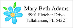 Address Labels - Blue Flower