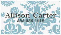 Calling Cards - Damask (Blue and White)