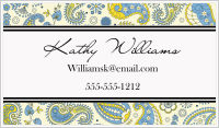 Calling Cards - Paisley (Blue, Yellow and Black)