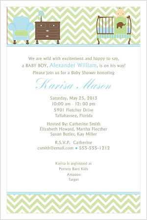 Baby Shower Invitations-Baby Boy Elephant Theme Nursery