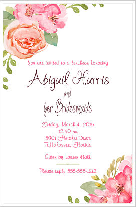 Wedding - Beautiful Pink and Coral Peonies/Bridesmaids Luncheon Invitations