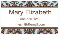 Calling Cards - Damask (Blue and Brown)