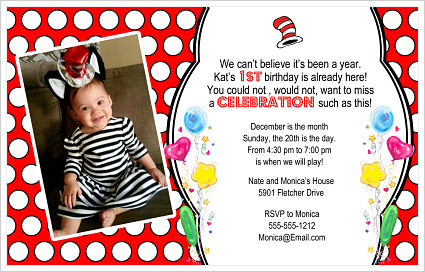 Kids Birthday Invitations-Cat In The Hat